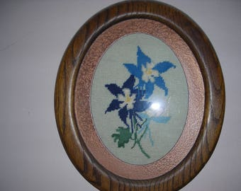 Framed Cross Stitch Columbine Flowers Picture