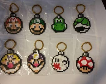 Super Mario Perler Christmas Ornaments