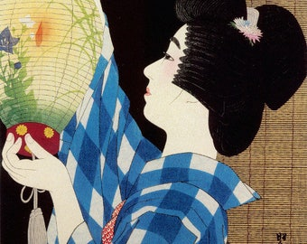 "Japanese Art Print ""Gifu Paper Lantern"" by Shinsui Ito, woodblock print reproduction, fine art, asian art, cultural art"