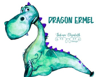 Dragon Ermel 2, Watercolor Clipart, Baby, Child, Fun, Craft