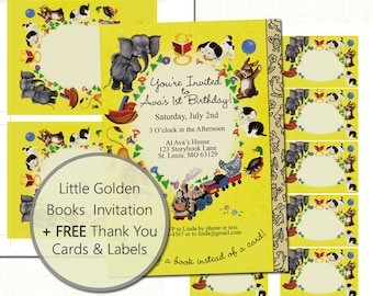 Little Golden Books Birthday Invitation Plus Free thank you cards and labels, Storybook Invitation, Storybook Shower, Printable, DIY