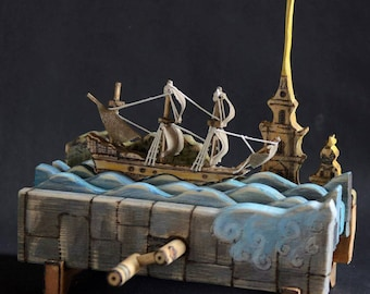 Мechanical sailing boat on the Neva river
