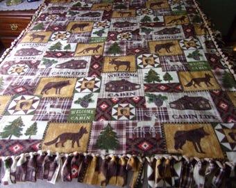 Welcome to cabin fleece tie blanket