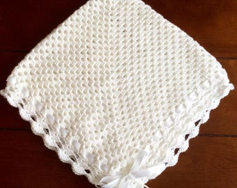 Crochet Baby Blanket - white sparkle yarn with satin ribbon and beaded bow
