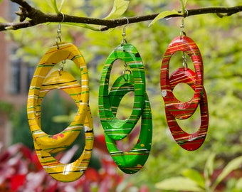 Oval Wooden Earrings - Handmade in Zambia, Africa