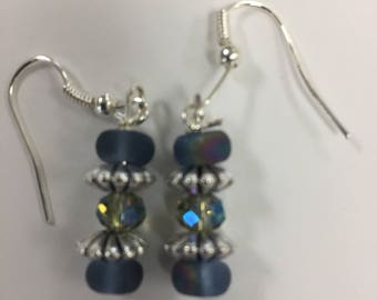 Mixed blue crystal and beaded silver earrings