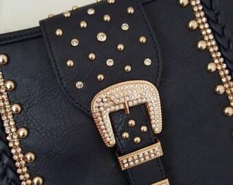 Stunning cross body satchel style diamanté studded bag Move and Moda