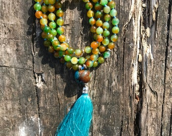 Jade mala with 108 semiprecius gemstones