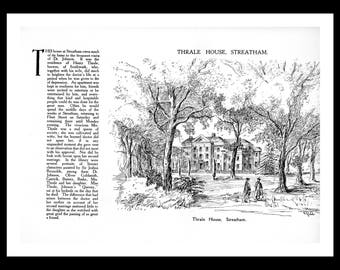 London print of Thrale House, Streatham