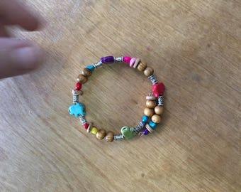 Homemade Memory Wire Beaded Bracelet