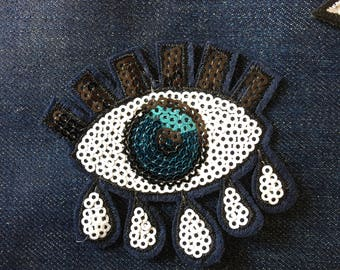 Sequin EYE sew on / Iron on Patch, Decorative Patch / Appliqué Patches / crying eye / Iron on Eye patch