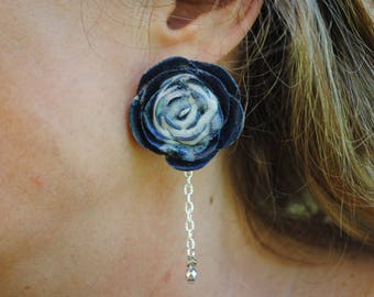 PINK handmade blue resin EARRING with white splatter and chain with steel-colored stone