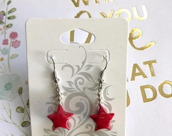 Red Origami Lucky Star Earring (READY TO SHIP)