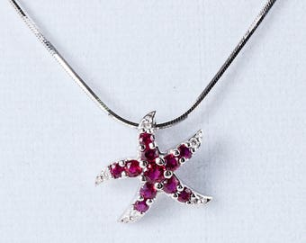 SALE Handmade Ruby & Diamond Starfish Necklace in 14k White Gold