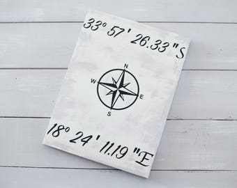 Coordinates Sign / Compass Sign / Home Decor / Living Room Sign / Personalized Wooden Sign / Travel Sign
