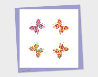 butterflies x 4 different colours pointing to corners