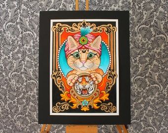 Mystic Gypsy Cat - neo traditional tattoo art flash print