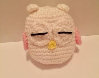 Adorable Stuffed Owl - White/Pink