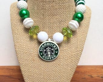 Starbucks Green Chunkie Necklace for Girls.