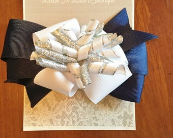 Navy Blue Layered Sparkle Bow