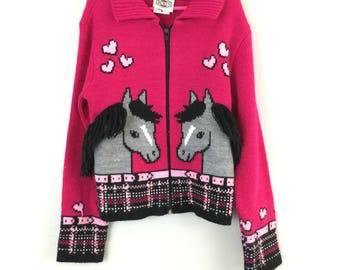 Vtg Girl's Knitted Yarn Horse Zip Up Sweater