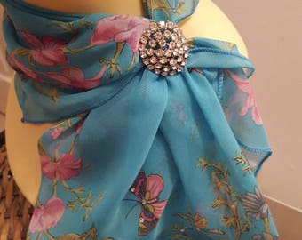 Ladies Glamour Sarovski adorned scarf & scarf clip-gift boxed-Turquoise Butterfly