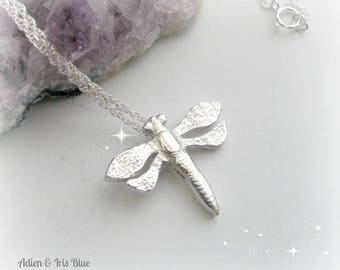 Small Dragonfly Necklace, Sterling Silver Necklace, Gift Idea for Her, Summer Jewelry