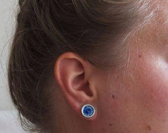 Button earrings blue glitters | stud earrings