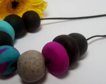 Teal Necklace / Polymer Necklace / Hot Pink Necklace / Statement Jewelry / Bold Necklace / Round Beads / Birthday Gift / Marble Necklace