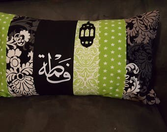 Custom cushion model Fatima in Arabic calligraphy