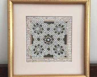 Shabby Chic Framed Doilies with Bling
