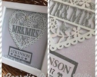 Mr & Mrs personalised heart frame wedding gift