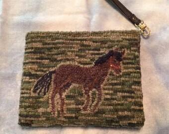 Hand Hooked Wool Wristlet/Purse