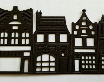 5 die cut card silhouette town shops for card making, craft embellishments card stock