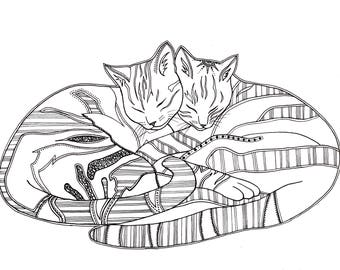Sleeping Cats Print Ink illustration wall art//home decor