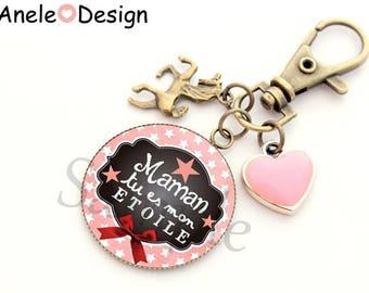 Keyring gift bag for MOM jewel - pink Unicorn pink tassel heart