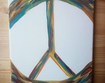 Colorful Peace Sign | Custom | Hand Painted on Canvas