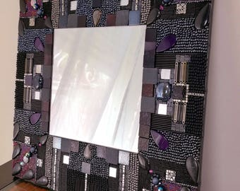Mirror Format way mosaic of beads black and purple