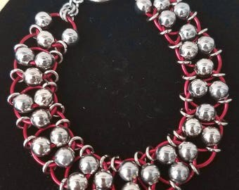 Chainmaille Stainless Steel and Anodized Aliminum Bracelet