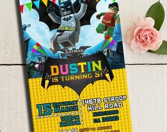 Lego Batman invitation, Batman Party, Lego Batman birthday invitation, Batman Printables, Batman Invite, Lego invitation, Lego Batman Party
