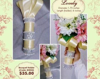Hand bouquet holder, wedding bouquet, bridal bouquet, bridesmaids bouquets, flower girl, wedding corsage, brooch decor