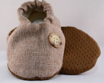 """5"""" Soft-Soled Baby Shoes - Tweed with Buttons - Adjustable Ankles - Non-Slip Soles"""