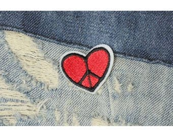 Peace patch heart, sew on - iron on badge ca. 30mm