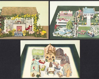 Crochet Four Seasons Linen Advertising Postcards Autumn Summer and Winter