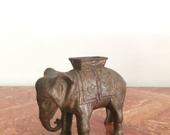 Vintage J.E. Stevens Indian Painted Cast Iron Elephant Coin Bank