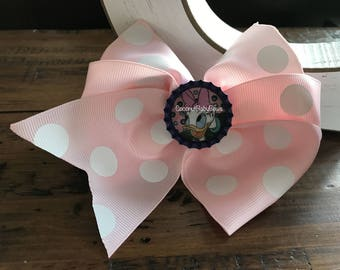 Pink Polka Dot Bottle Cap Bow Inspired by Daisy Duck