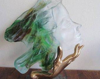 Face of woman glass and bronze sculpture