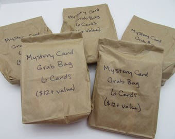 Mystery Card Grab Bag - 6 cards - Handmade/ Handstamped - All Occasion Greetings - Surprise!