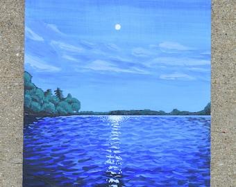 "Full Moon over the Lake, 9x12"" Original Acrylic Painting"