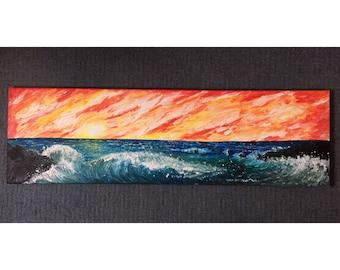"Large Sunset/Sea Original Oil Painting 39""x12"""
